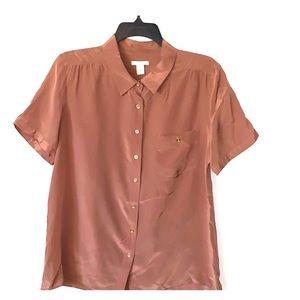 J Crew taupe short sleeved silk blouse size 12 EUC